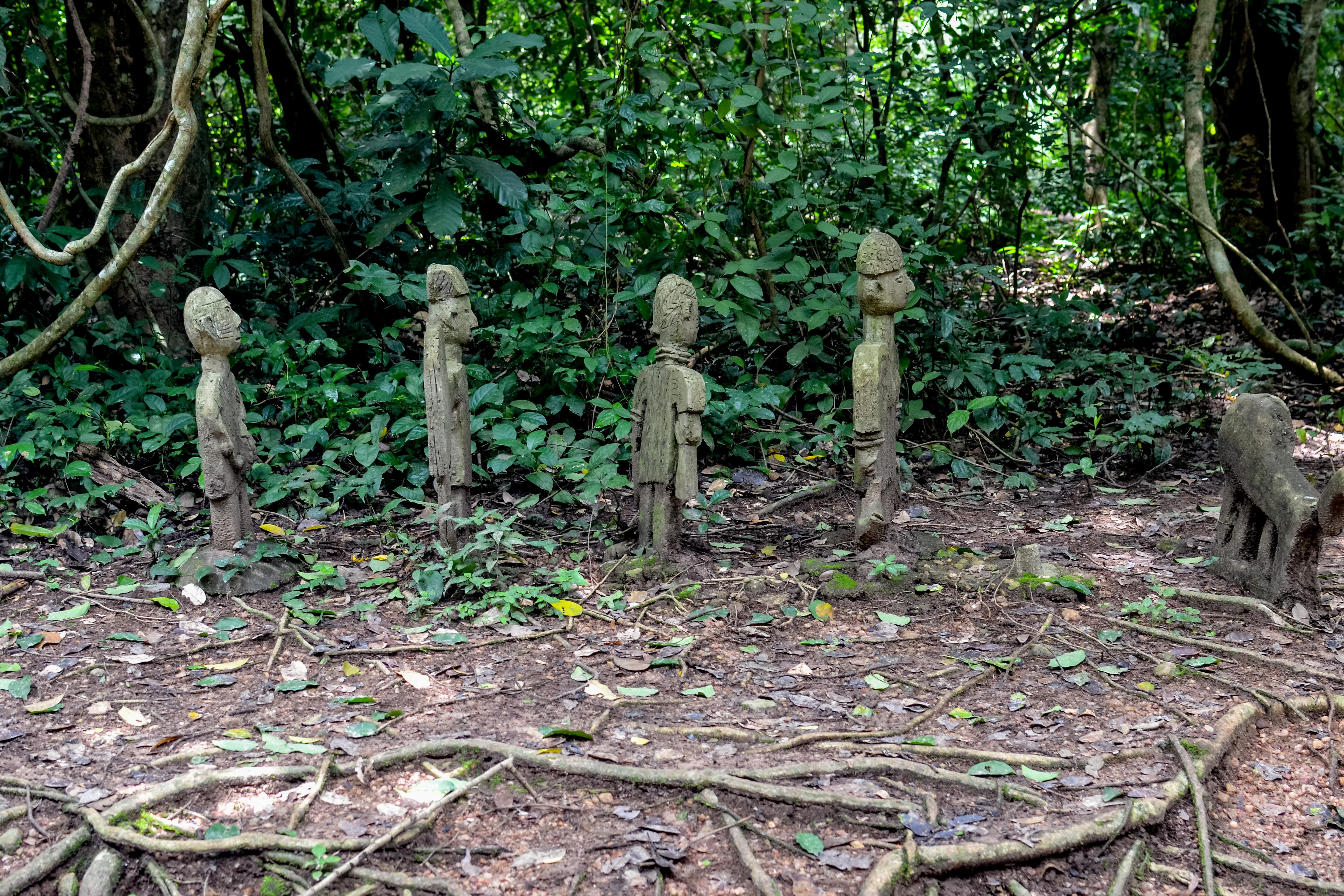 File:Adunni Olorisha carvings at the Sacred Grove Of Oshun