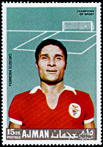 Eusébio depicted on a 1968 عجمان stamp