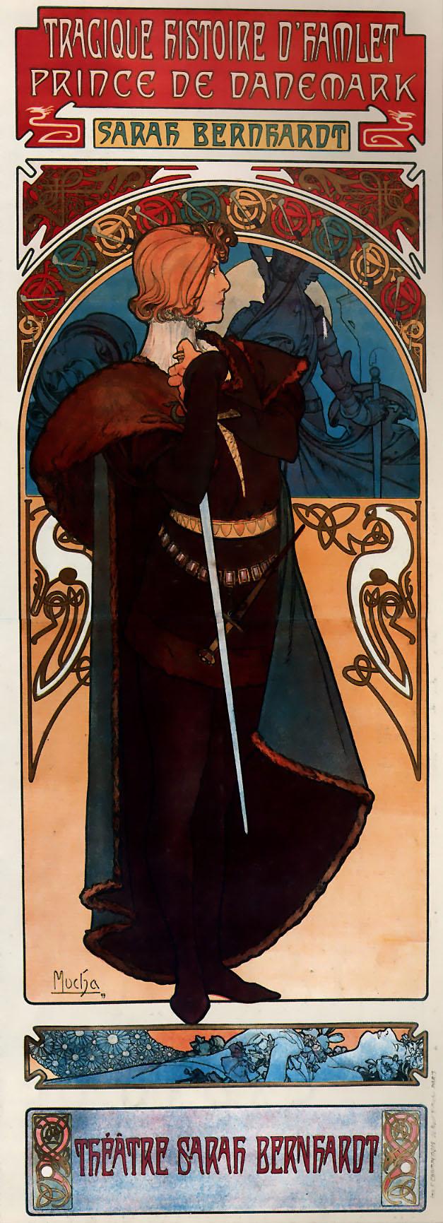 Sarah Bernhardt dans le rôle d'Hamlet, par Alfons Mucha