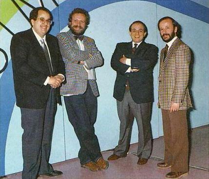 Giancarlo Magalli (terzo da sinistra) nel 1988