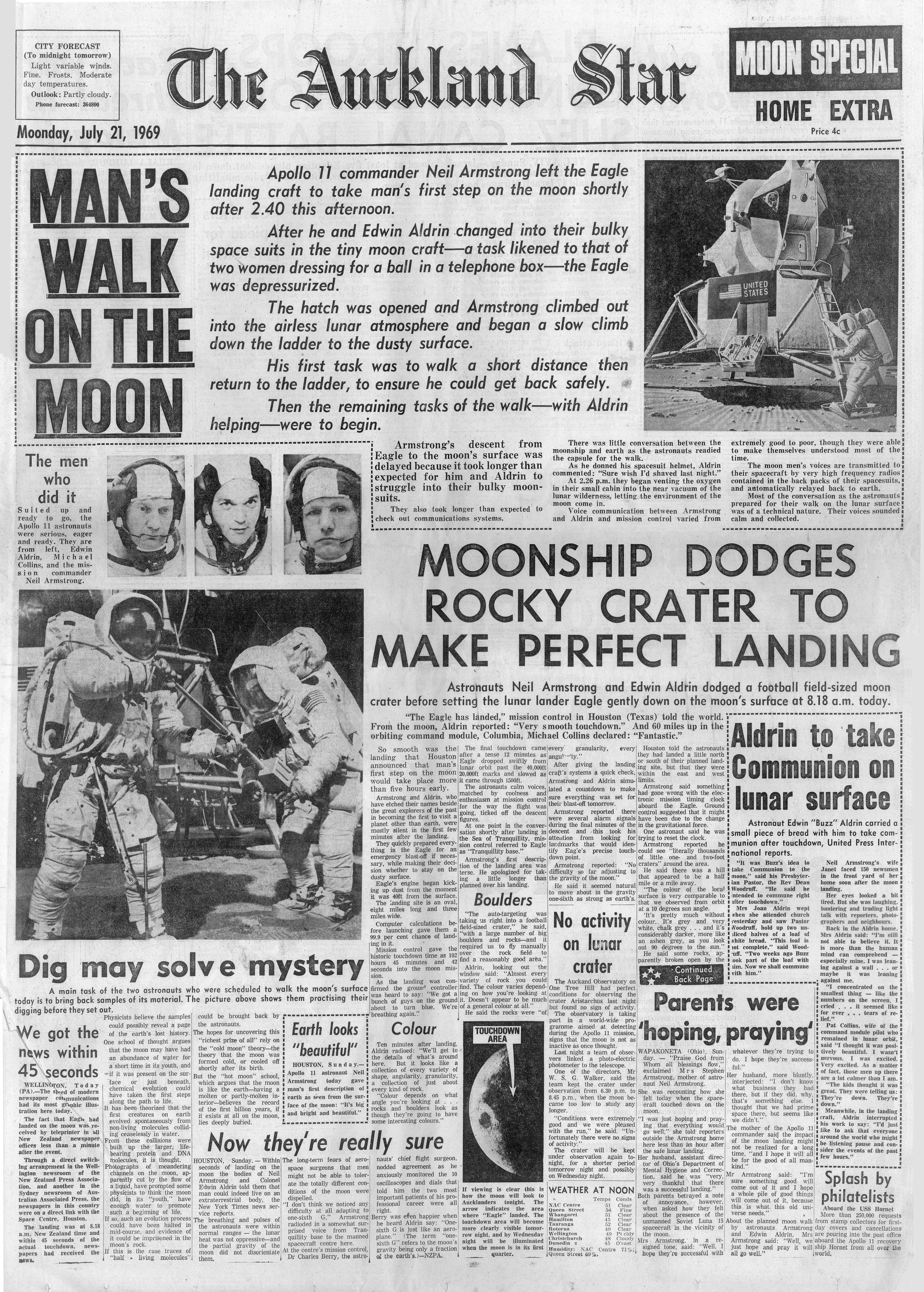 FileAuckland Star Apollo 11 Moon Landing Front Page