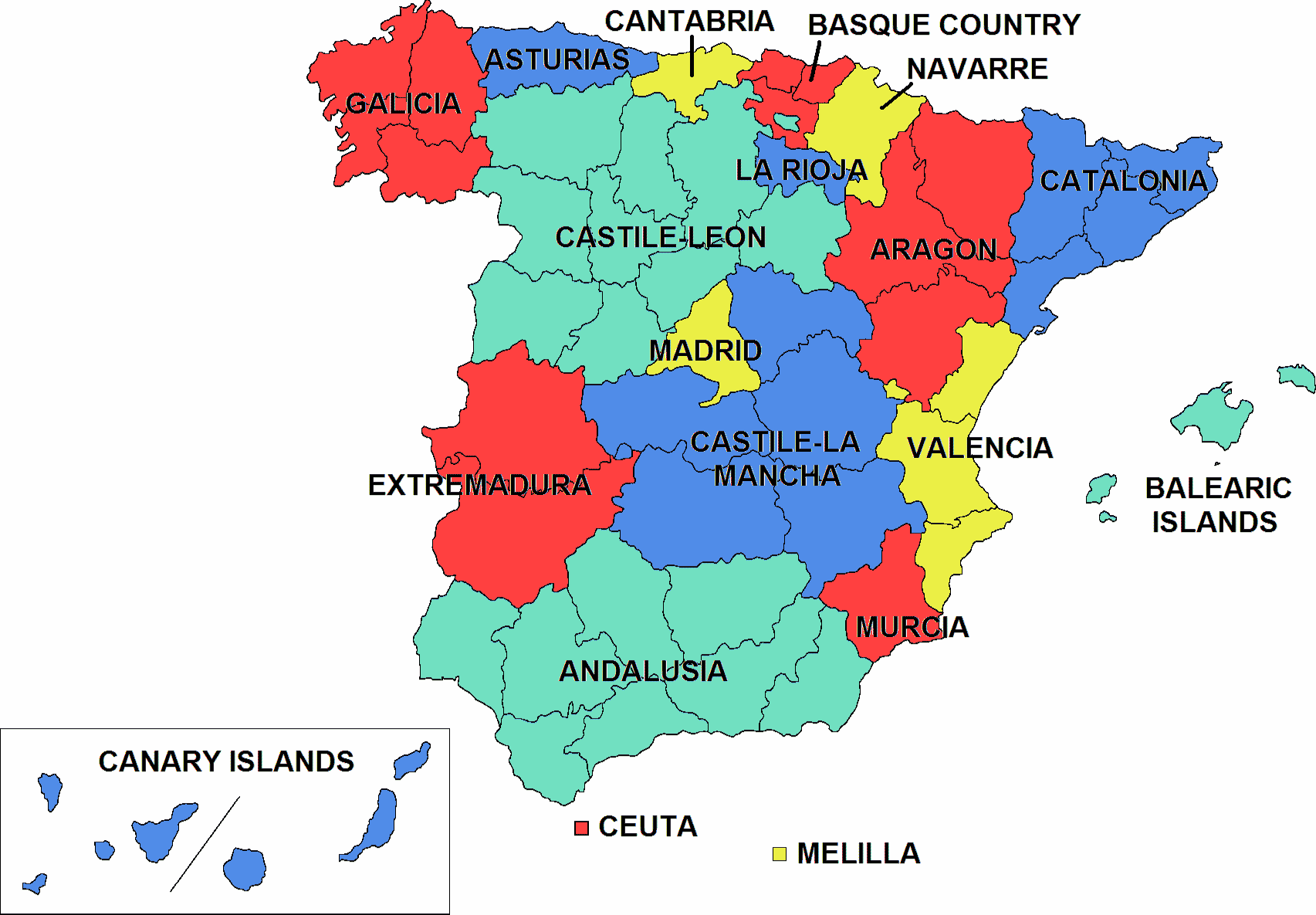 Blank Map Of Spain Regions.File Ccaa Spain Png Wikimedia Commons