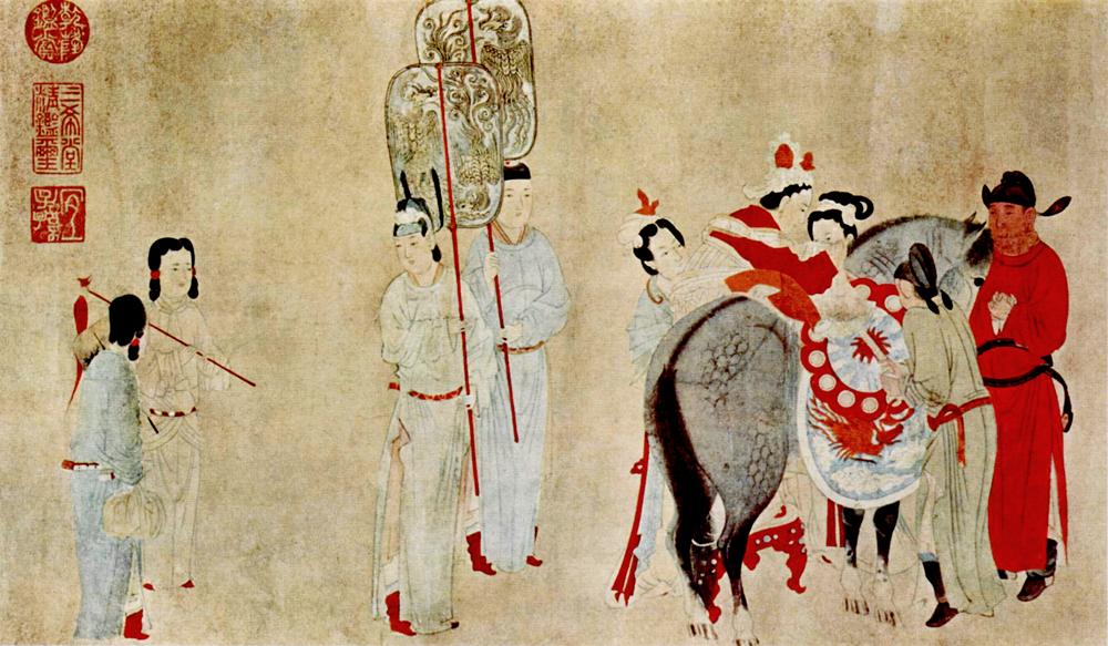 Yang Guifei, to saddle the horse, artist Qian Xuan (1235-1305 BC. E.)
