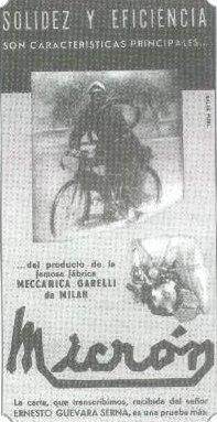 Ernesto Guevara y su bicicleta con motor en una propaganda de 1950 publicada en la revista El Gráfico.