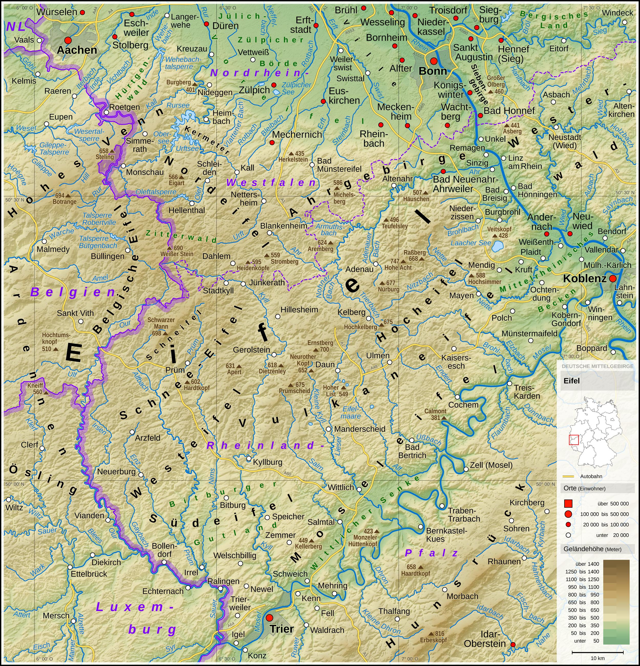eifel gebiet karte Eifel   Wikipedia