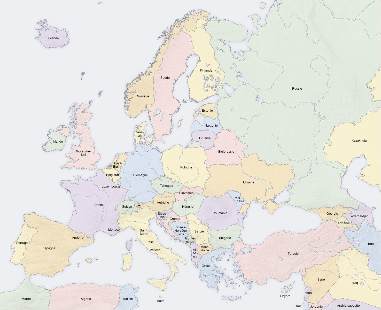 carte europe nom pays