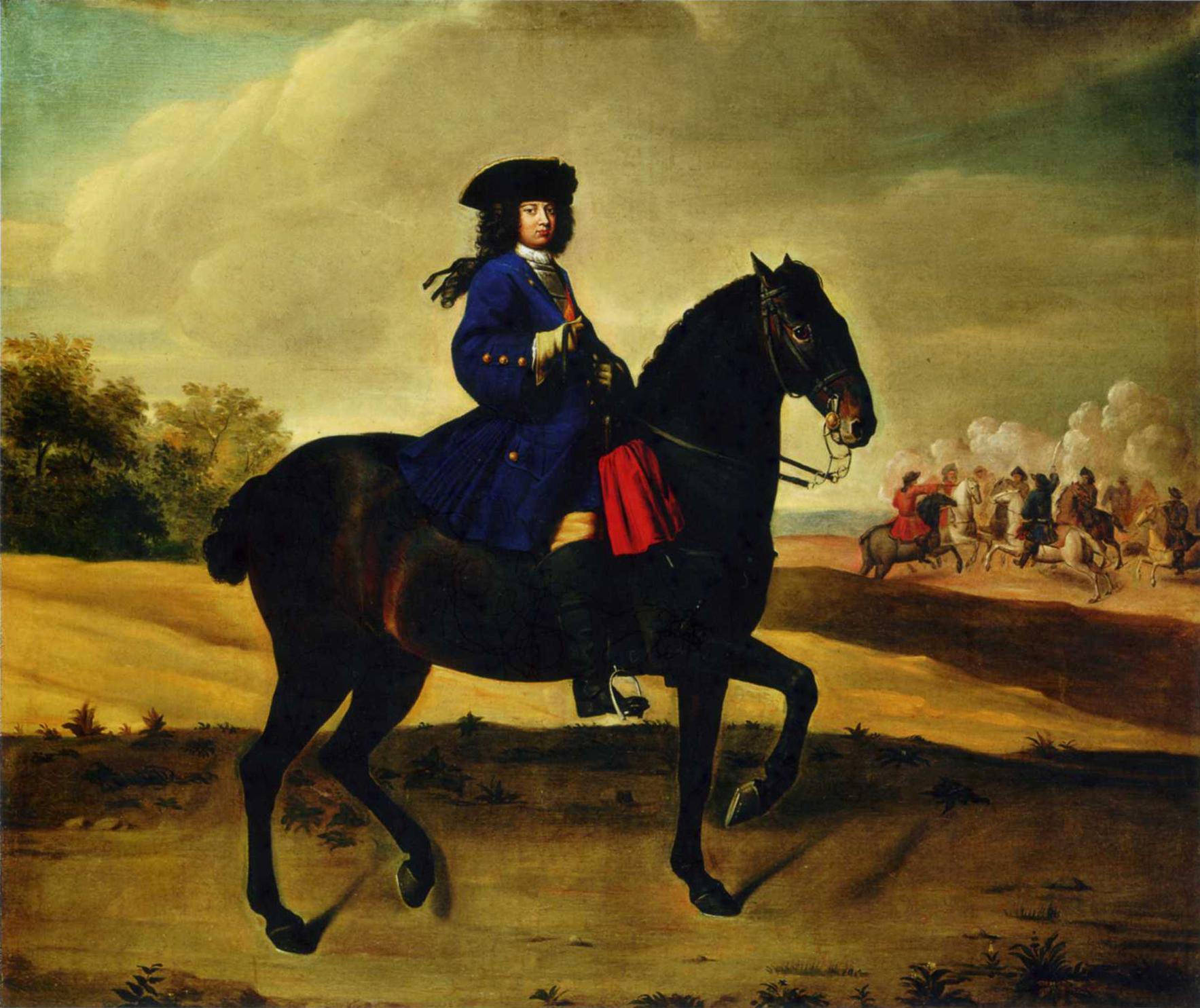 Friedrich Wilhelm I auf einem Pferd im Jahr 1706 - Ölgemälde von Paul Carl Leigeb