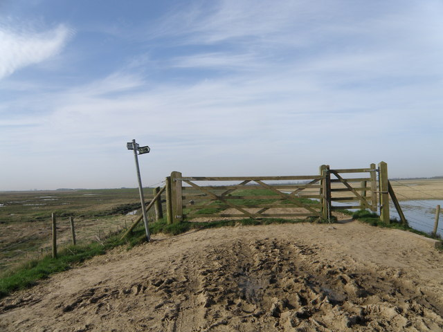 Gate on top of the sea wall, Frampton Marsh - geograph.org.uk - 1206553