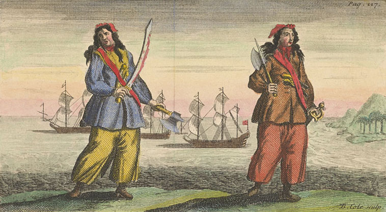 General History of the Pyrates - Ann Bonny and Mary Read (coloured)