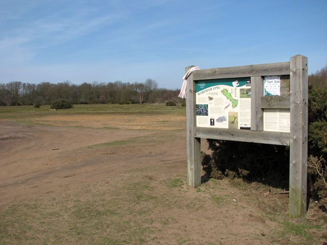 Information board in the car park in Wortham Ling - geograph.org.uk - 1770224