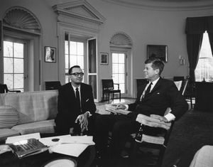 Facio Segreda with [[John F. Kennedy]] on 6 July 1962