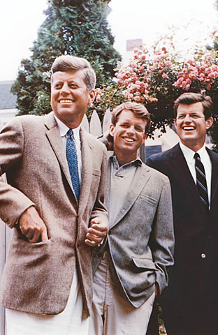Three members of the Kennedy political dynasty, John, Robert and Edward. All eight of their great-grandparents emigrated from Ireland. Kennedy bros.jpg