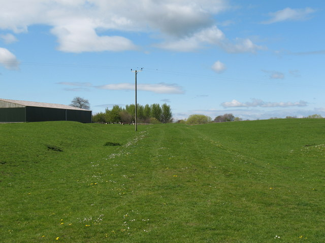 Line of Roman Road across fields at Thornton le Street, North Yorkshire