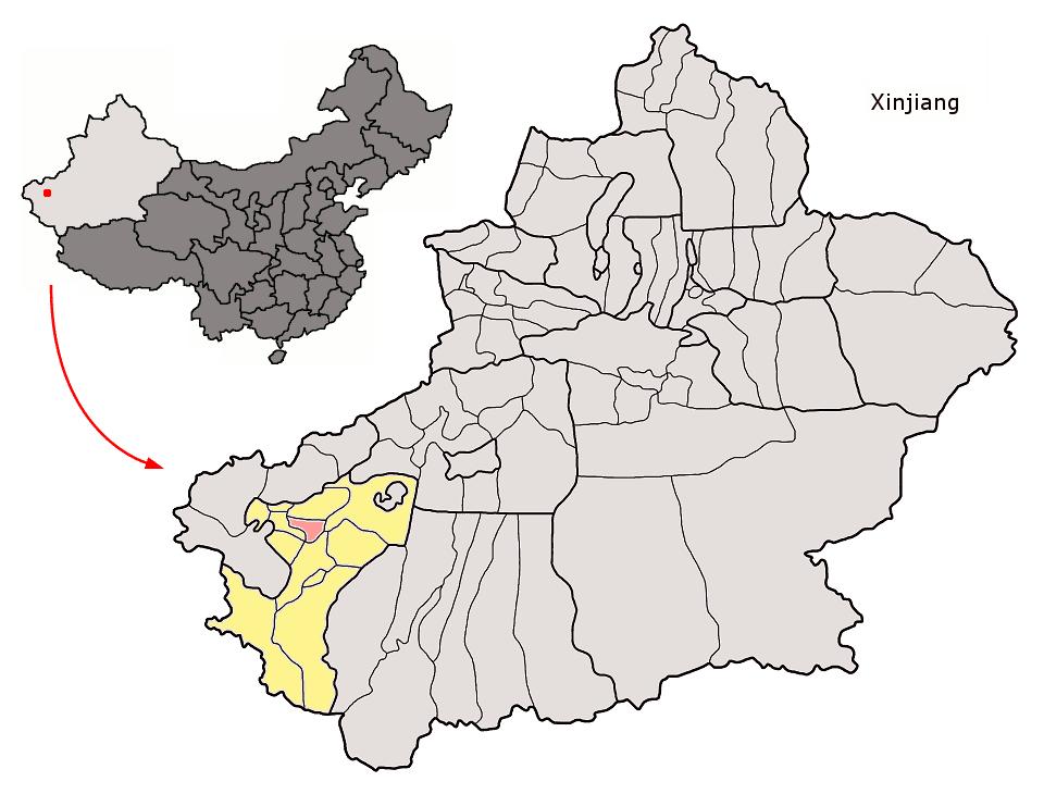 Yopurğa İlçesi'nin Sincan Uygur Özerk Bölgesideki konumu (pembe)