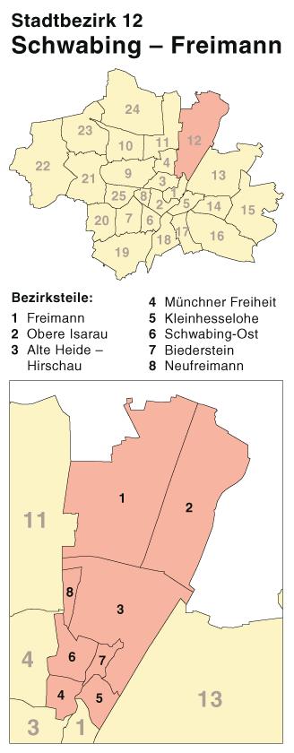 File Munchen Stadtbezirk 12 Karte Schwabing Freimann Png