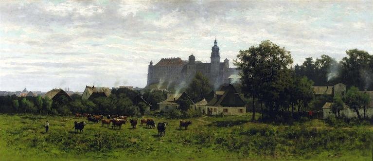 19e siècle, le chateau de Wawel vue depuis le sud de Cracovie par le peintre Malecki.