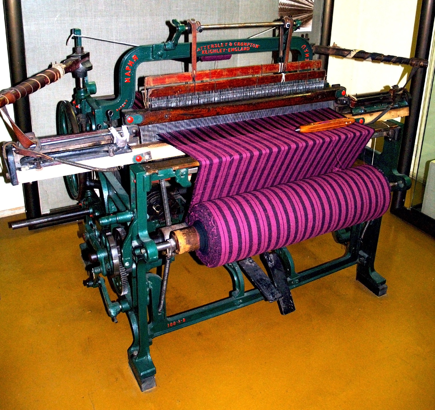 Floor Loom Plans File Pedal Driven Weaving Machine Jpg Wikimedia Commons
