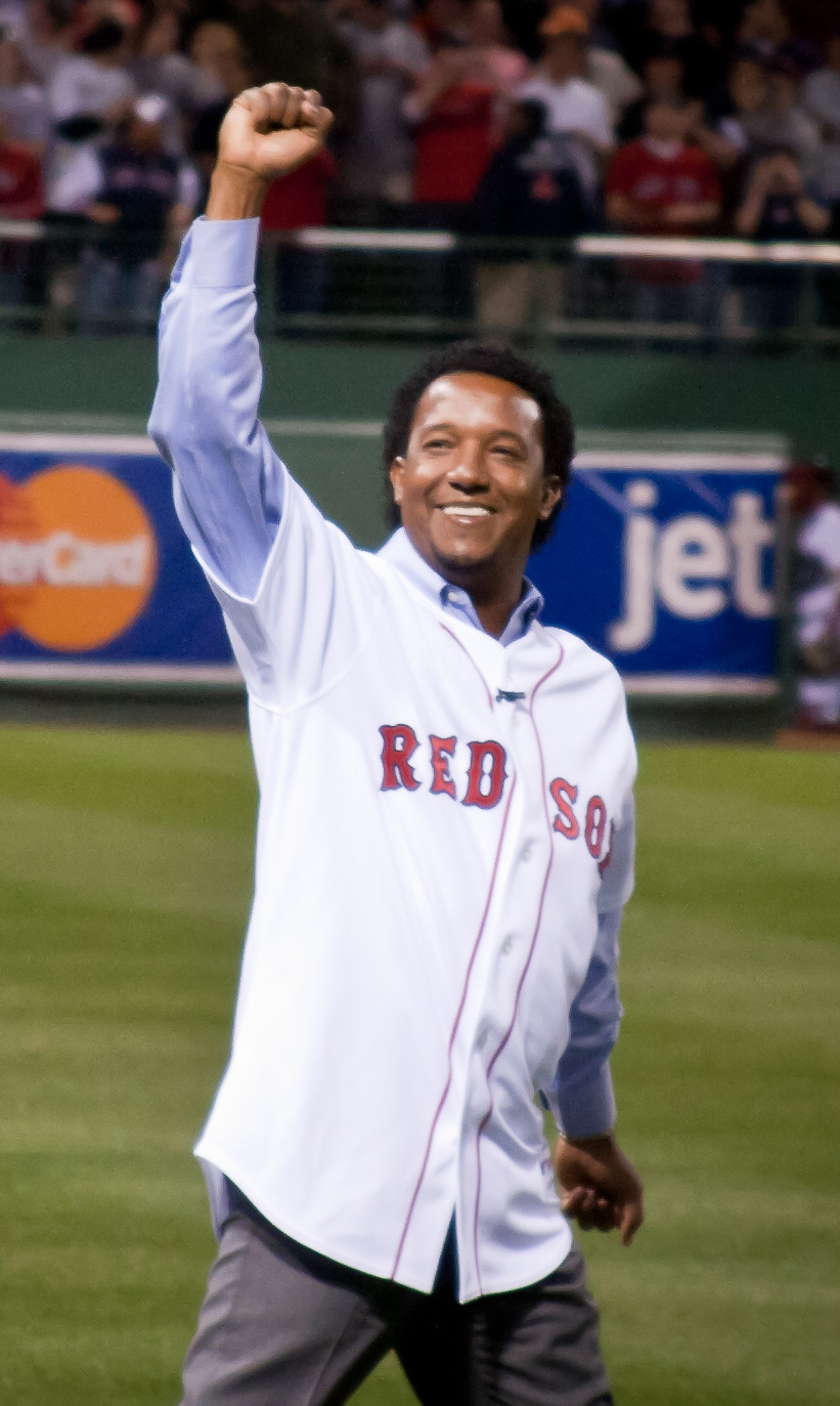 Martínez on the field at [[Fenway Park]] in 2010