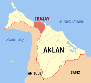 Map of Aklan showing the location of Ibajay