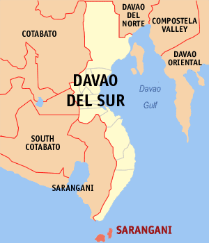 Map of Davao del Sur showing the location of Sarangani