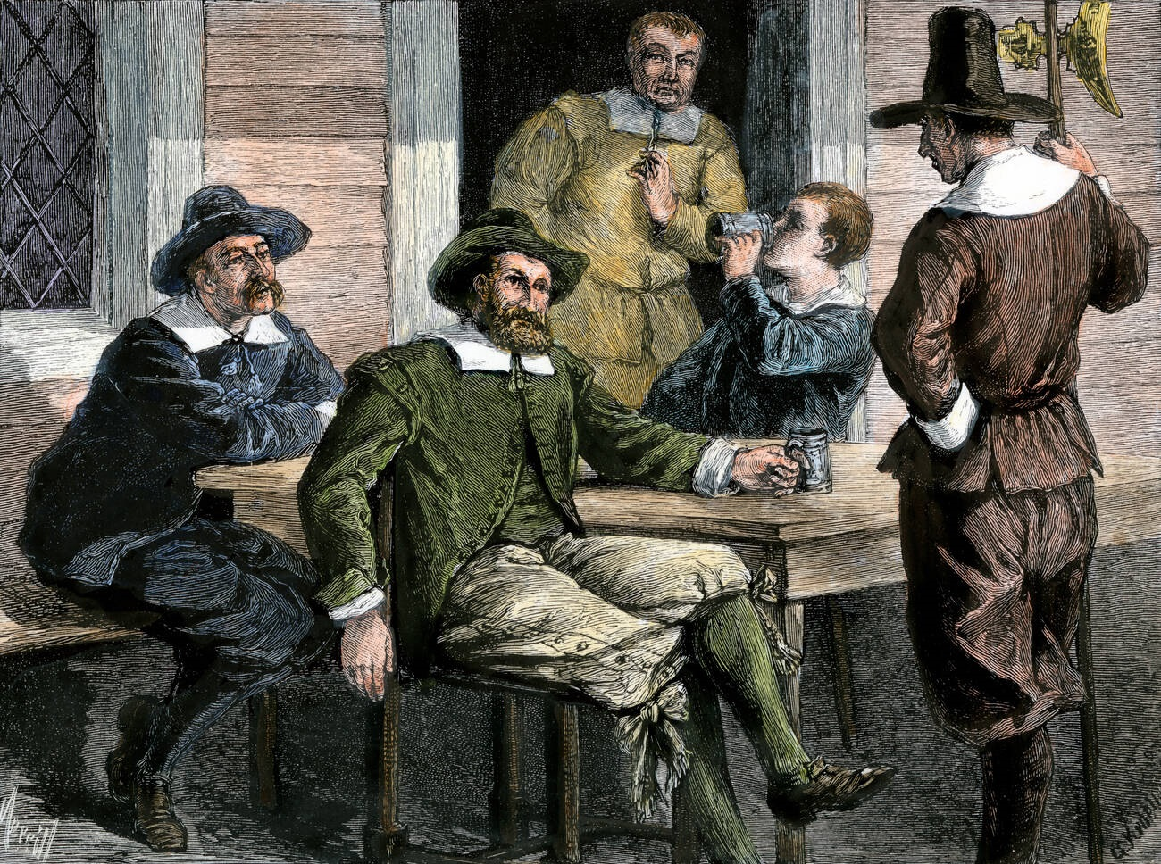 Puritans drinking from pewter mugs in colonial Massachusetts