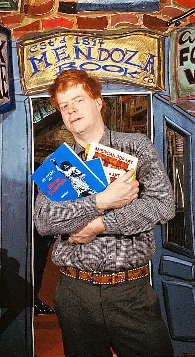 """Red Grooms with his work """"Bookstore"""" in 1978"""