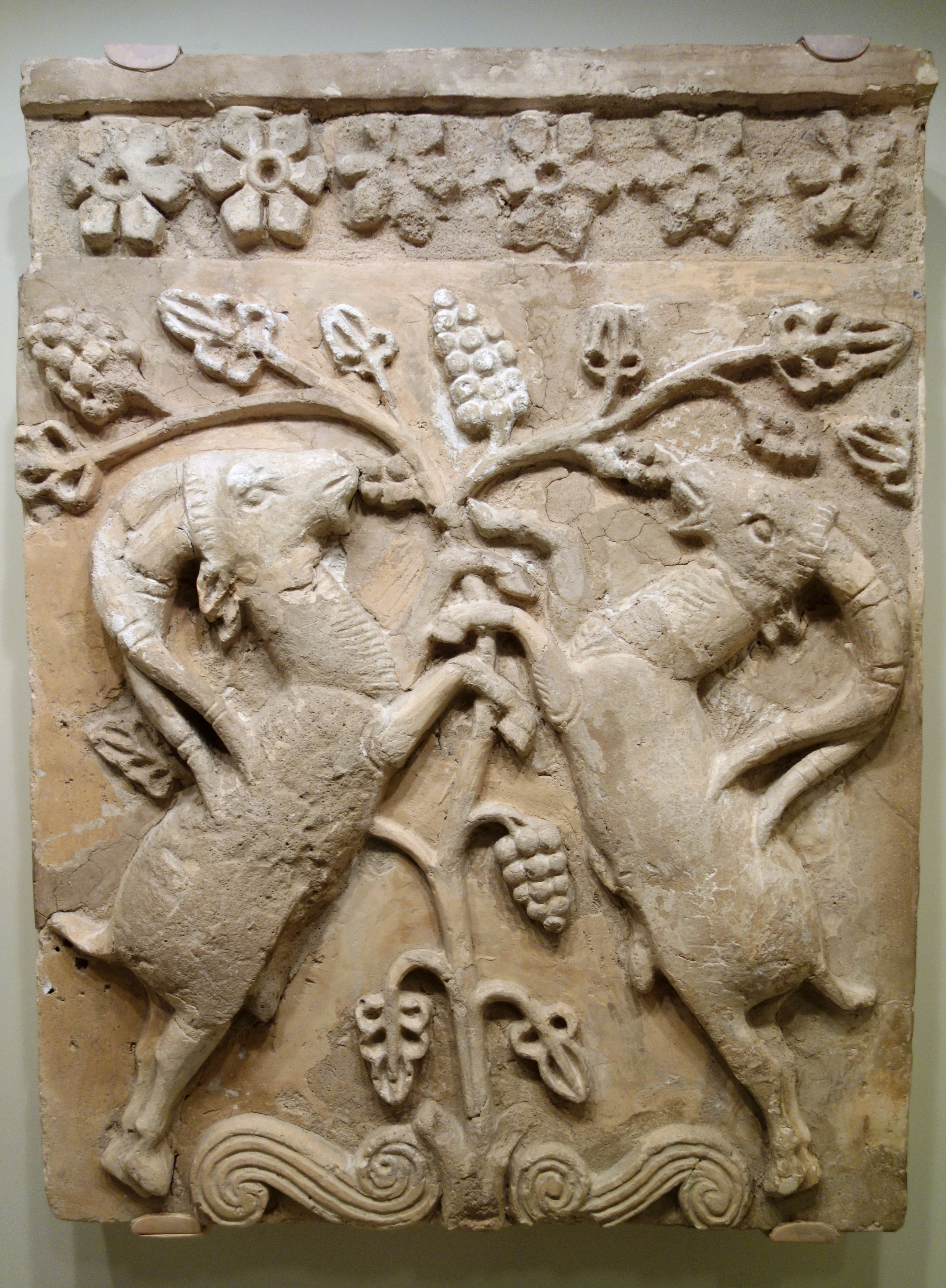 File Relief Plaque With Confronted Ibexes Iran Sasanian