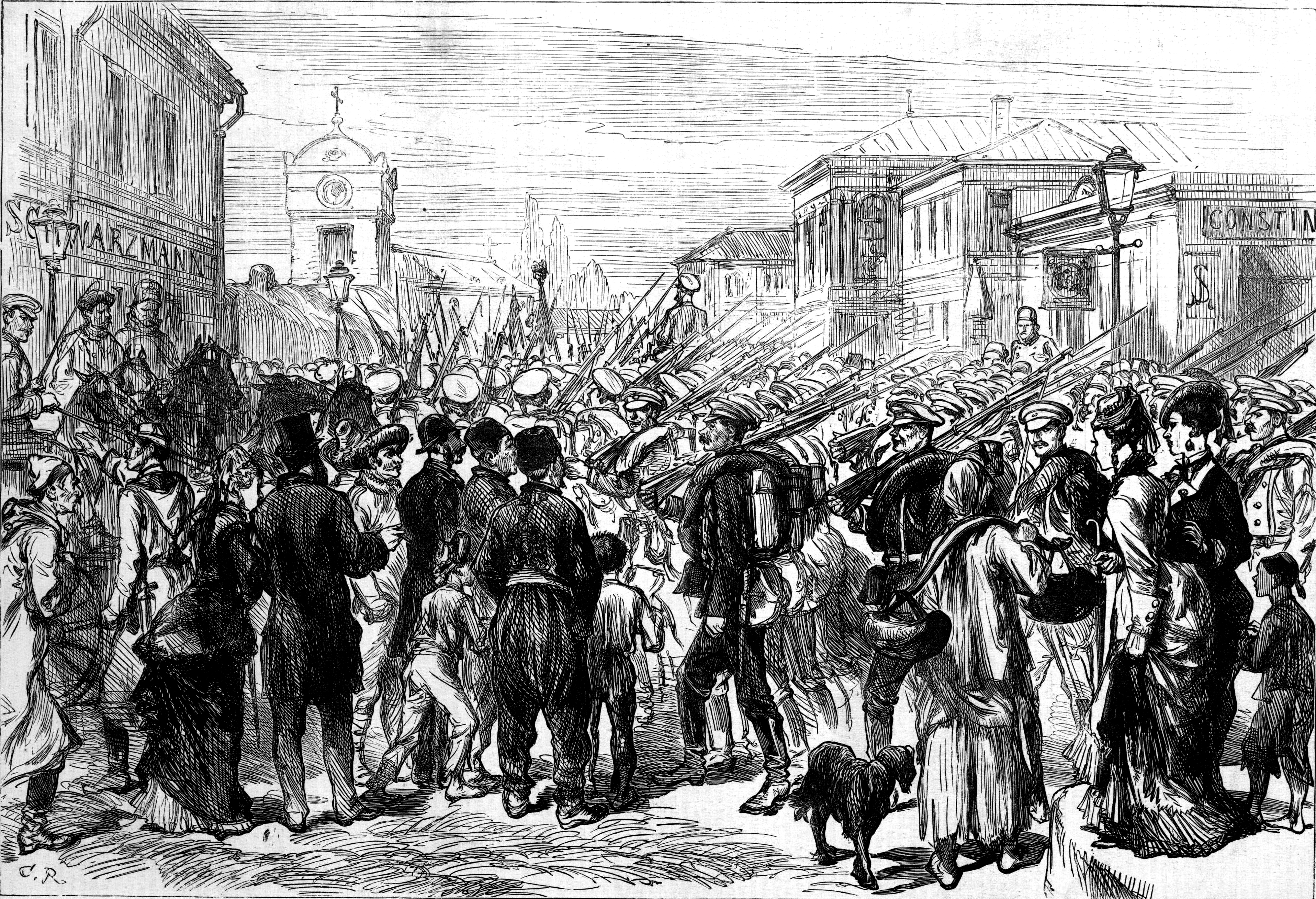 File:Russian Army in Bucharest, The Illustrated London News, 1877.jpg