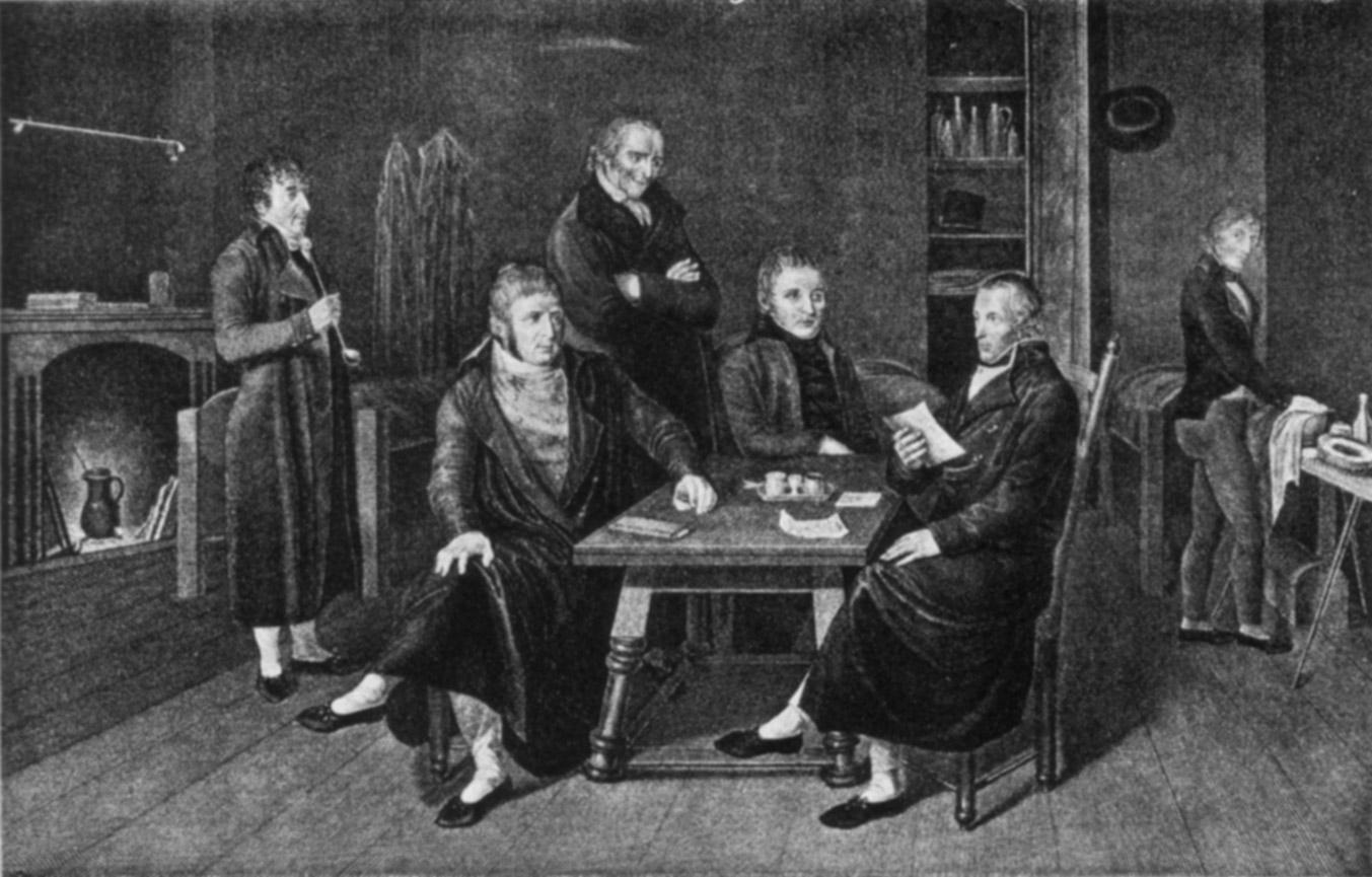 Von links: Jakob Zellweger, Alois Reding, Franz Anton Würsch, Ludwig auf der Mauer, Hans Caspar Hirzel