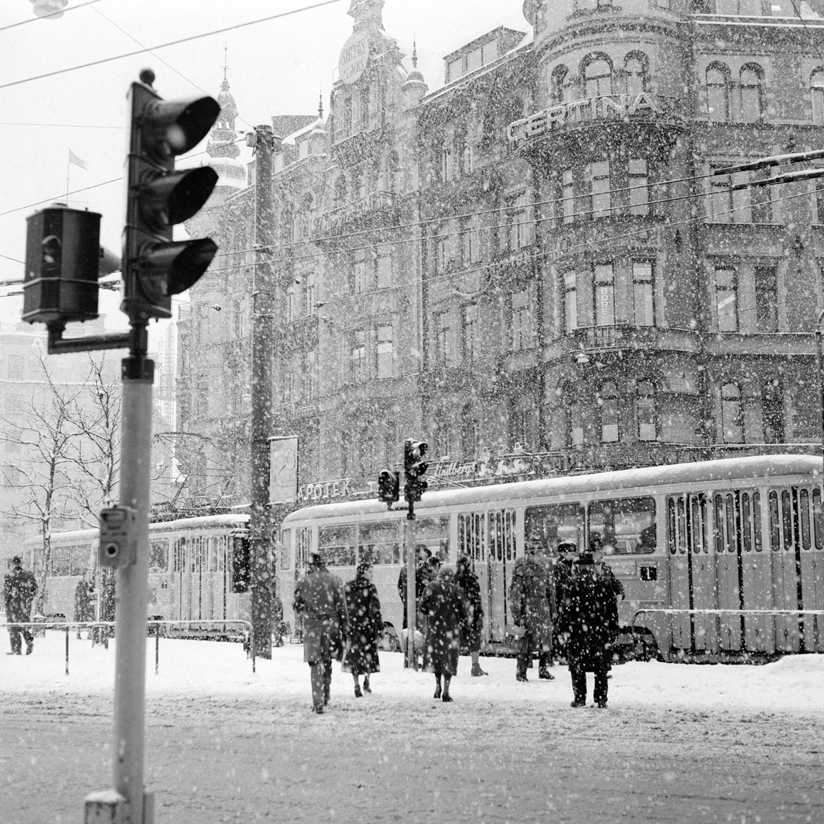 File:Stureplan, Stockholm In The Winter Of 1957