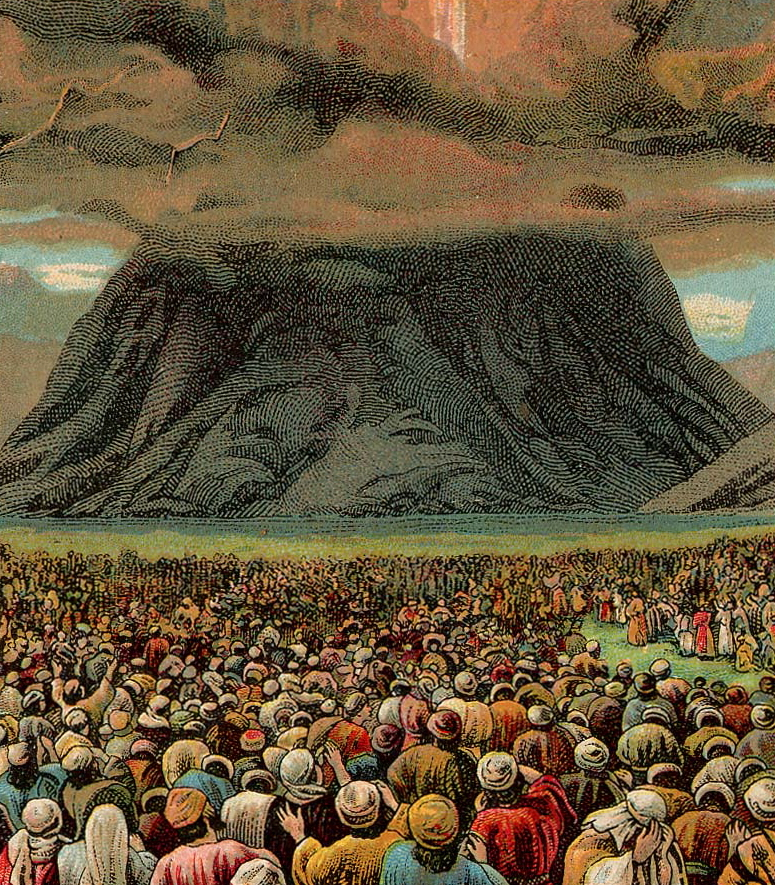 Mass-revelation at the Mount Horeb in an illustration from a Bible card published by the Providence Lithograph Company, 1907 dans immagini sacre The_Ten_Commandments_%28Bible_Card%29