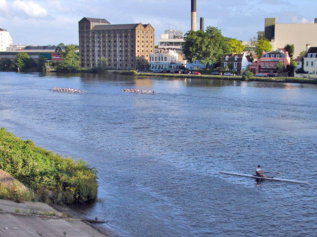 The Thames, Budweiser Brewery, The Ship, one Singlehander and Two Coxed Eights - geograph.org.uk - 473541