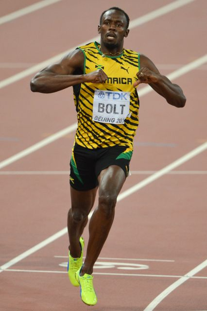 Usain Bolt after 200 m final Beijing 2015.jpg