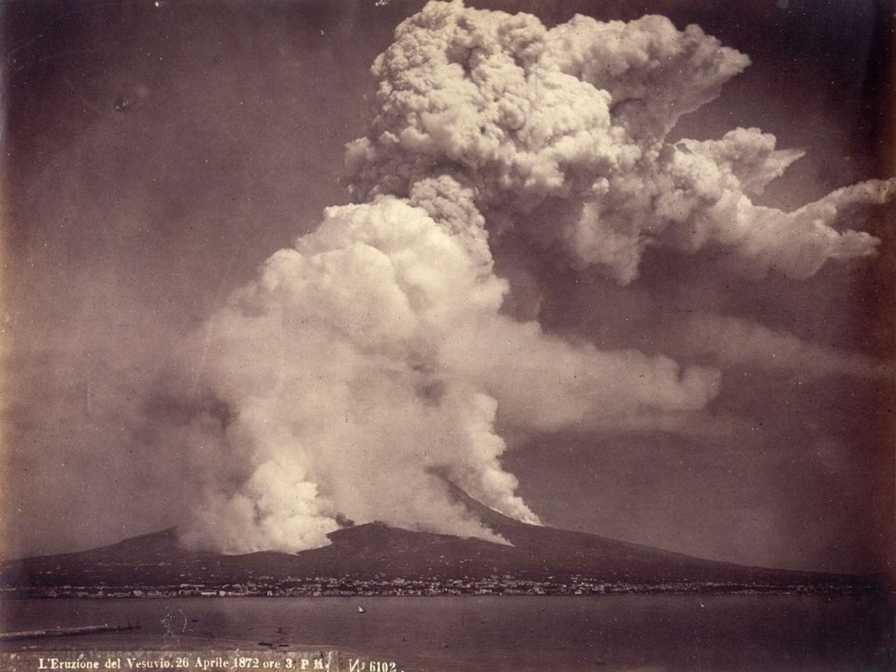Fotografía de una erupción del Vesubio el 26 de Abril de 1872