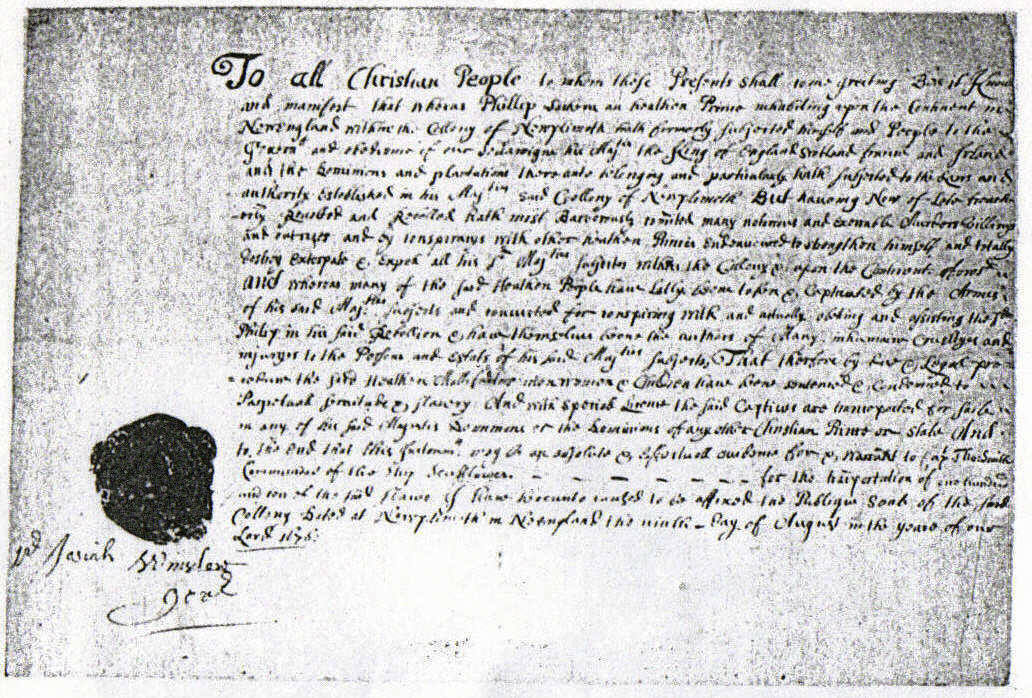 Warrant Signed by Governor Winslow of Plymouth for the Sale of Indian Captives as Slaves, 1660s