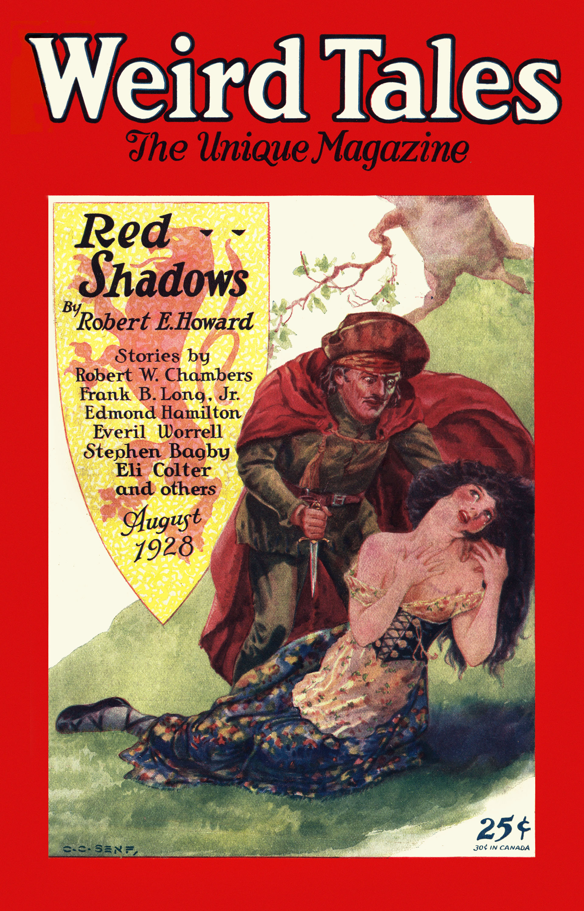 Weird Tales cover image for August 1928: Solomon Kane standing over a ravished woman.