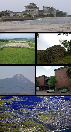 Top: Kaike Spa and Kaike Coast, 2nd left: Mugibandai ruins in Yodoe, 2nd right: Yonago Castle Site, 3rd left: Mount Kōrei, 3rd right: Yonago Municipal Museum, Bottom: Aerial view of Yonago