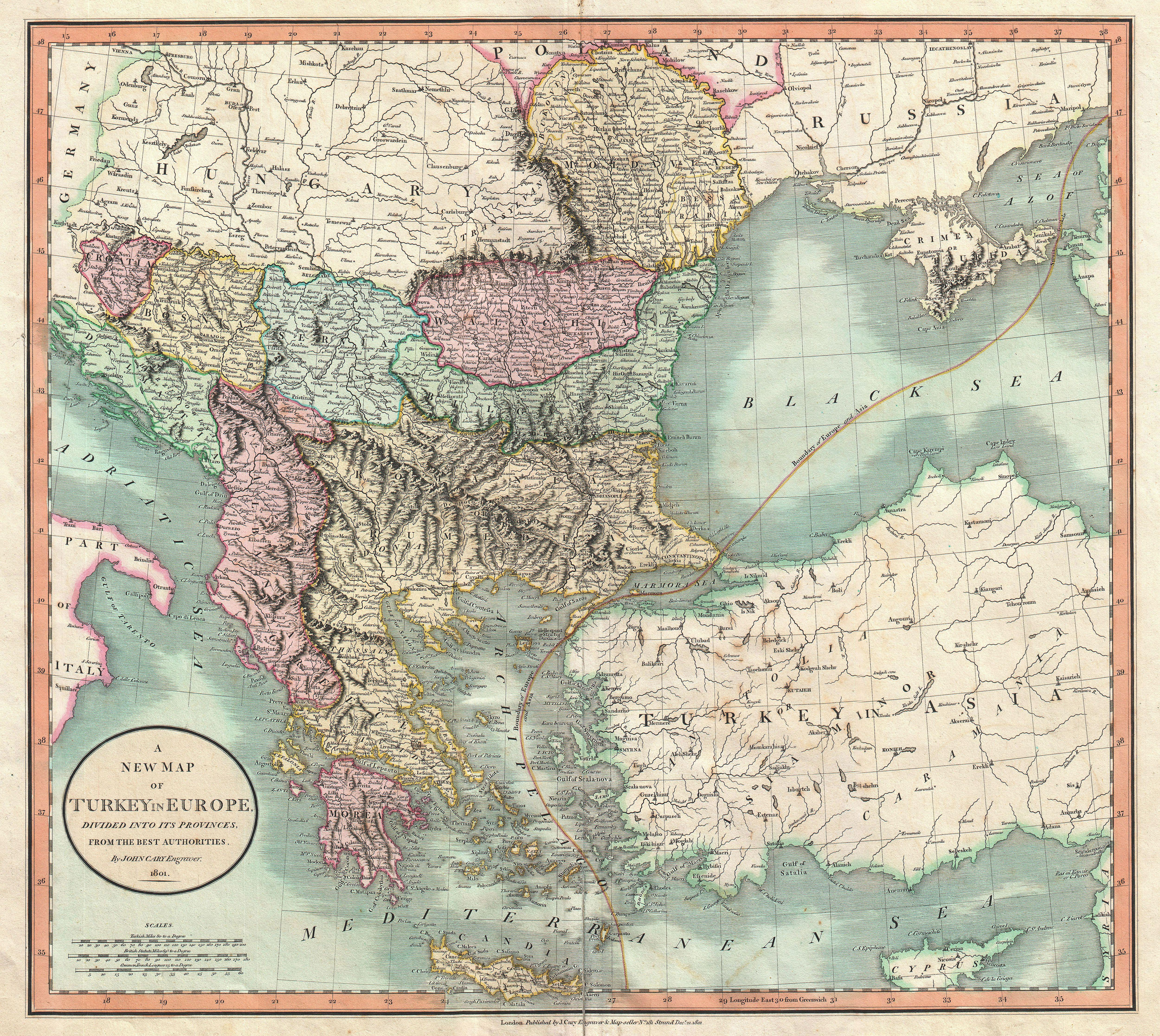 Turkey And Greece Map.File 1801 Cary Map Of Turkey In Europe Greece And The Balkan
