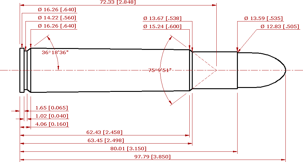 CIP compliant schematic of the .505 Magnum Gibbs
