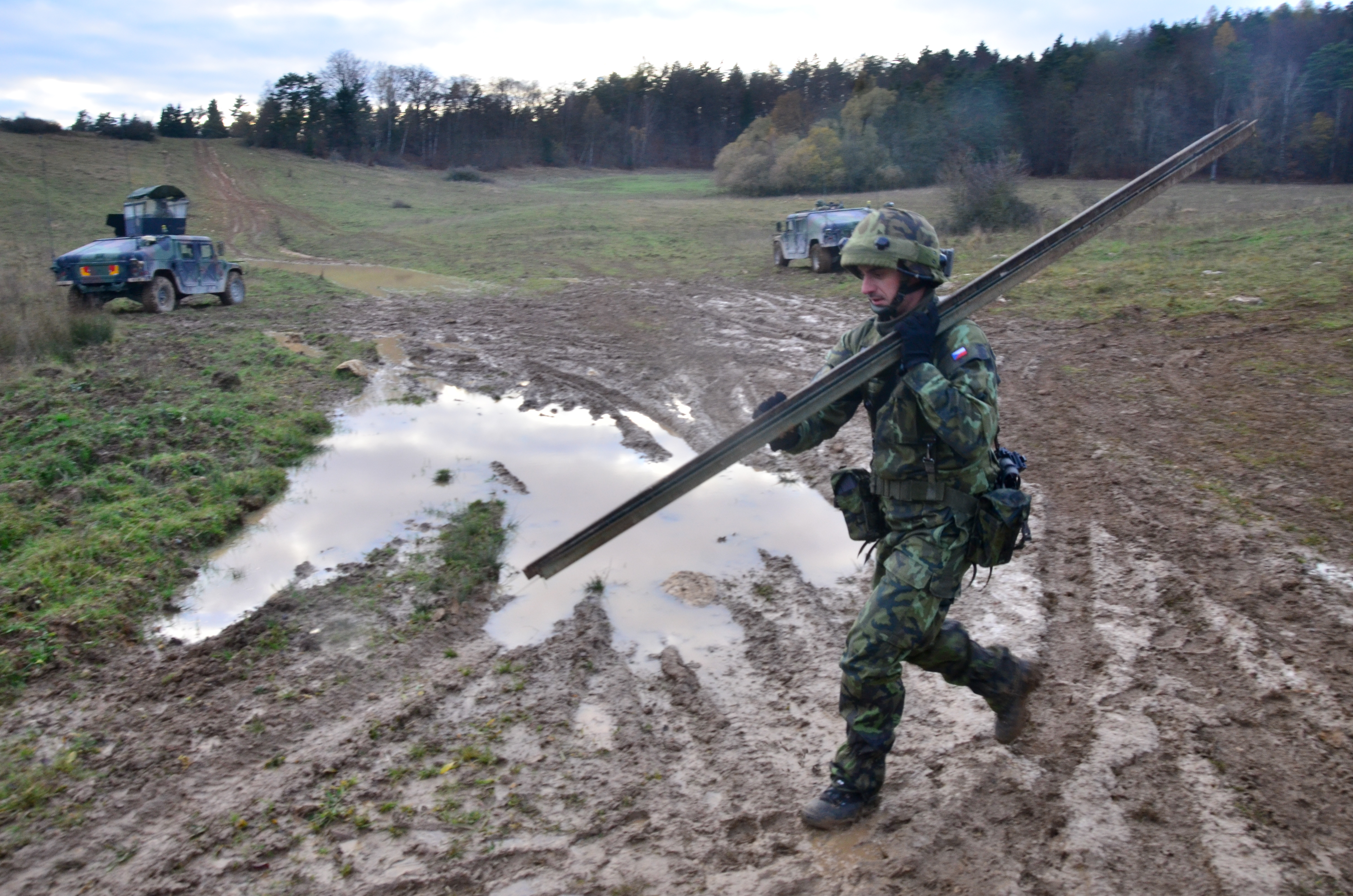 with Engineer Company, 72nd Mechanized Battalion carries a post ...