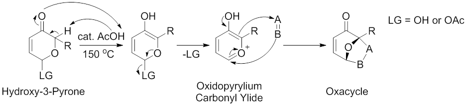 Scheme 3. Acid-Catalyzed Synthesis of Carbonyl Ylides from Hydroxy-3-Pyrones. Modified from Sammes, P. G.; Street, L. J. J. Chem. Soc., Chem. Commun. 1982, 1056.