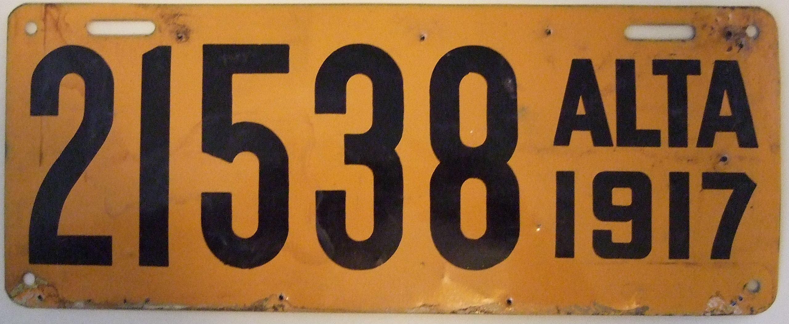 File:Alberta 1917 license plate - Number 21538.jpg - Wikimedia Commons