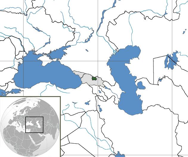 Südossetien in der Übersichtskarte eingezeichnet