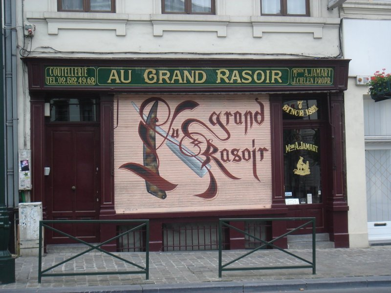 Barber shop Au Grand Rasoir (at the big razor) in Brussels.