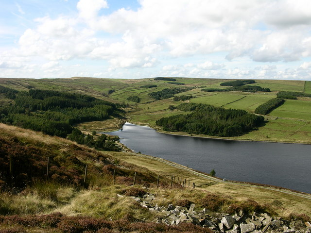 Calf Hey Reservoir from Musbury Heights - geograph.org.uk - 558406