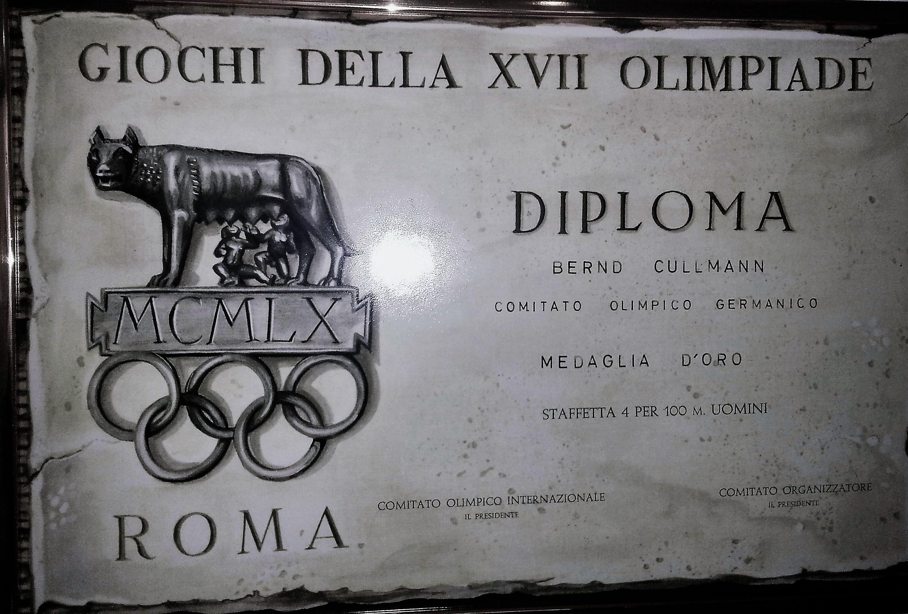 Certificate Olympia 1960 Rom Bernd Cullmann Germany Idar Oberstein