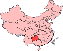 Guizhou is highlighted on this map