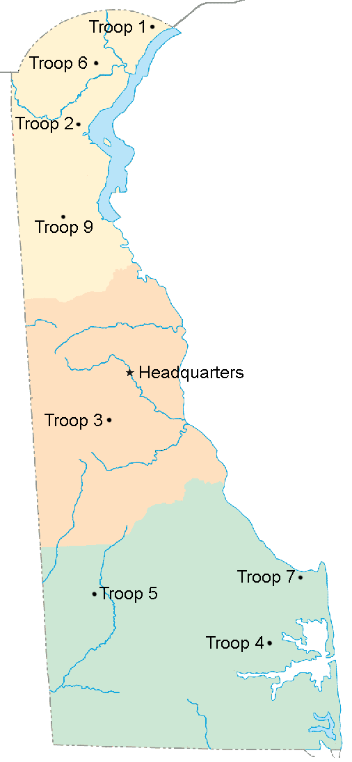 Delaware State Police Wikiwand - Delaware state map