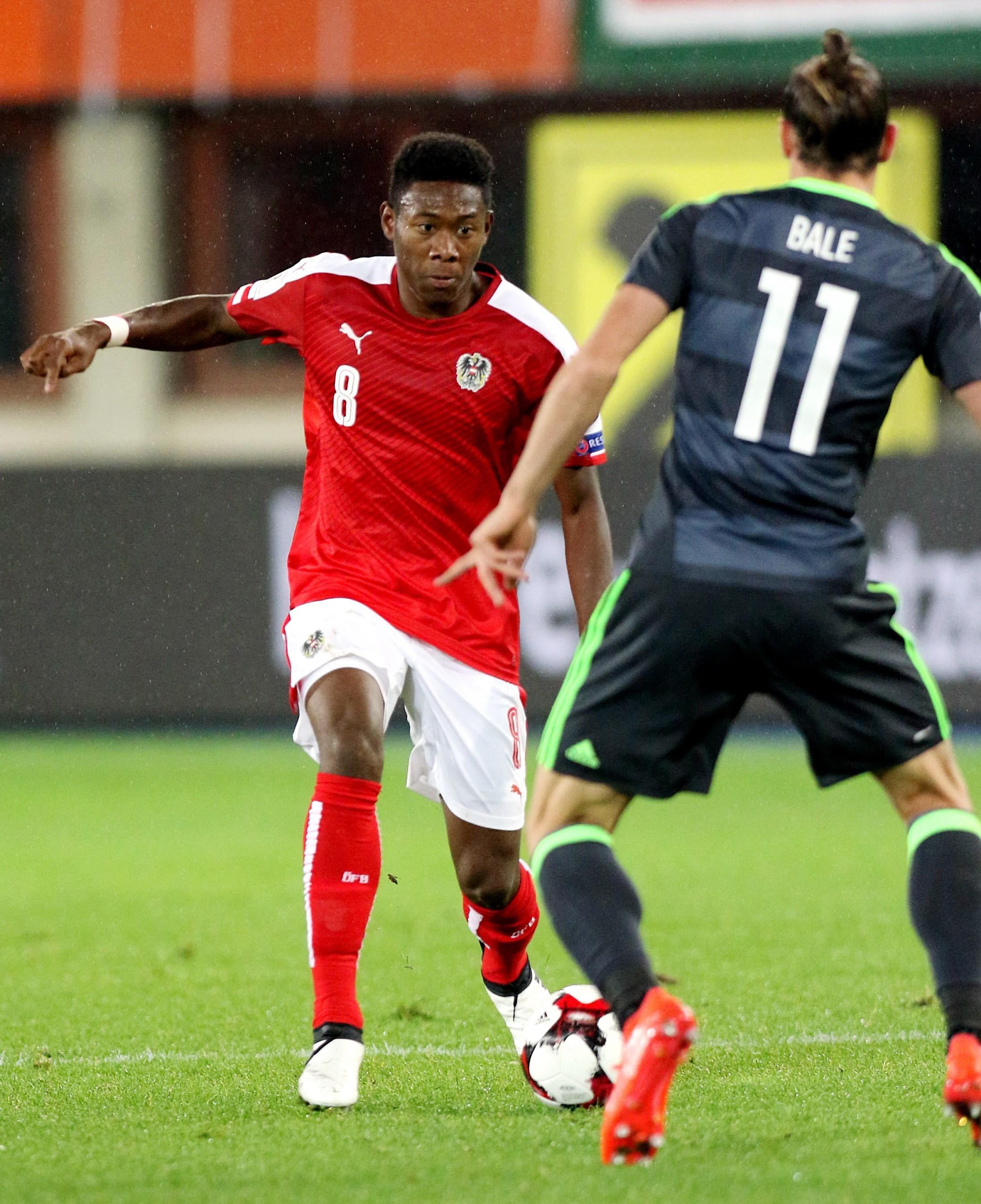 File David Alaba of Austria vs Gareth Bale of Wales