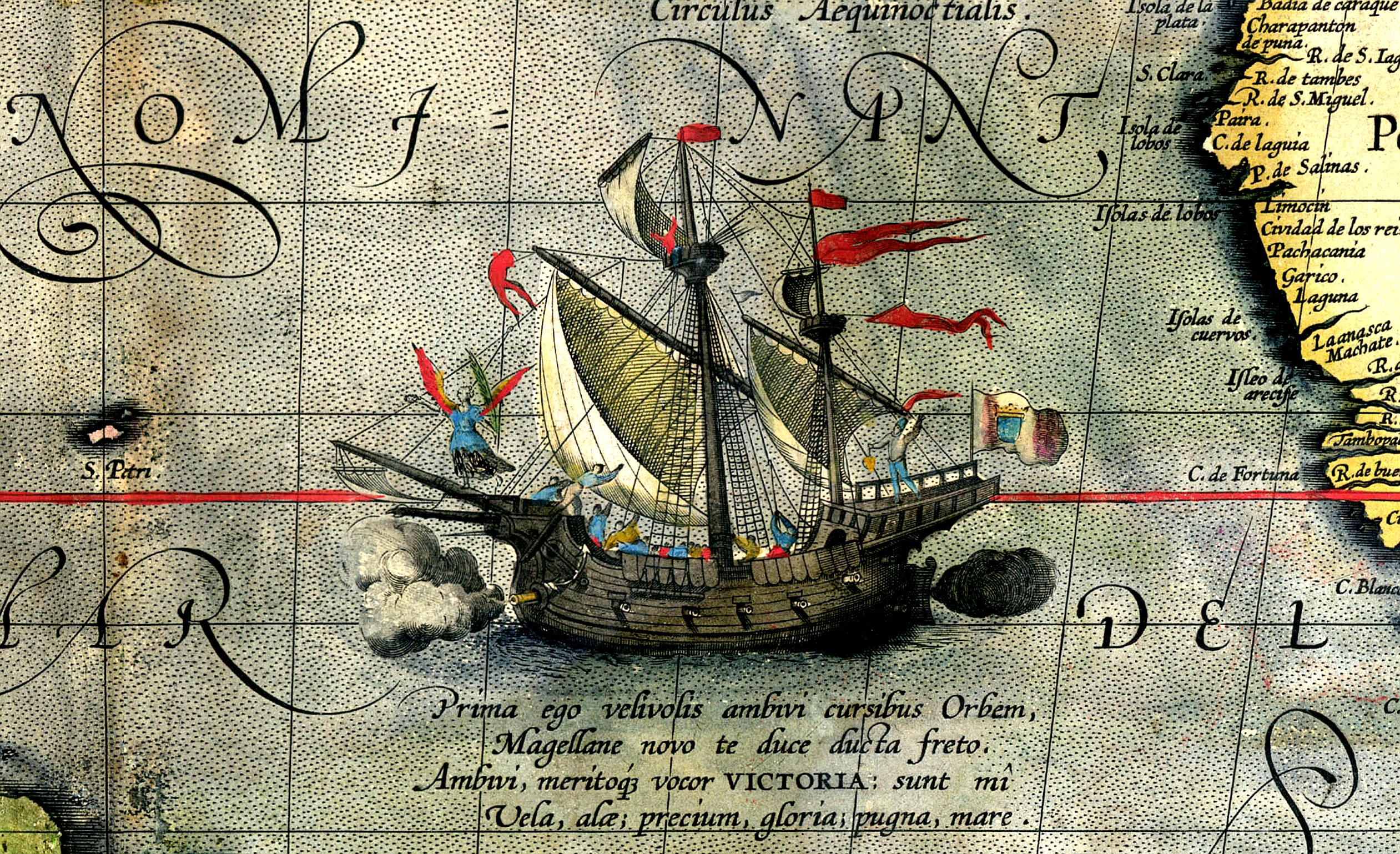 Detail der Karte des Ortelius: Magellans Schiff Victoria - Quelle:WikiCommons
